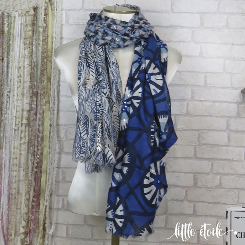 super populaire photos officielles où acheter Très grand foulard effet patchwork